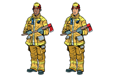 African American and Caucasian firemen in uniform with axes. Black and white professionals. Pop art retro comic book vector illustration