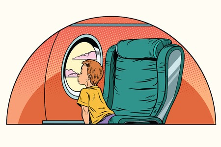 Caucasian boy passenger looks out the window on an airliner. Air transport. Pop art retro comic book vector illustration 向量圖像
