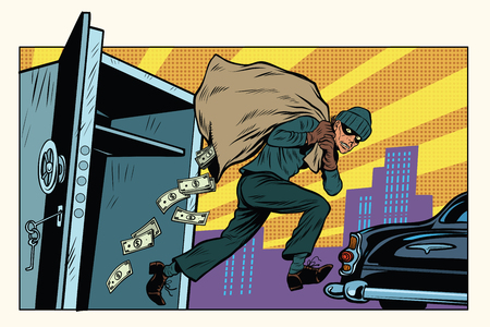 泥棒は、銀行、お金の袋からエスケープします。犯罪と探偵。ポップアートのレトロなベクトル図