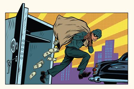 Le voleur s'échappe d'une banque, sac d'argent. Crime et détective. Illustration vectorielle rétro pop art