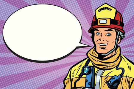 笑顔の消防士、漫画本のバブルの肖像画。ポップアート レトロ漫画のベクトル図  イラスト・ベクター素材