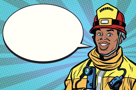 African American firefighter portrait, comic bubble. Pop art retro comic book vector illustration