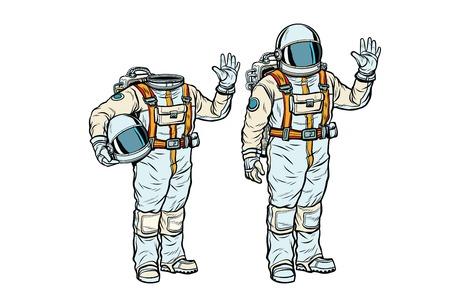 우주복 및 머리없는 모형의 우주 비행사. 팝 아트 복고풍 만화 책 벡터 일러스트 레이션 일러스트