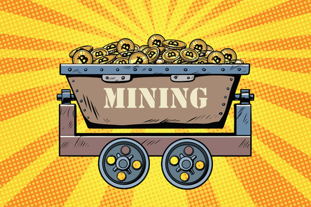 mining trolley with cryptocurrency bitcoin. Golden background. Pop art retro comic book vector illustration Ilustração