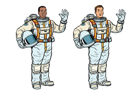 African and Caucasian astronauts in spacesuits. Black and white professionals. Pop art retro comic book vector illustration