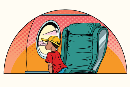African boy passenger looks out the window on an airliner. Air transport. Pop art retro comic book vector illustration 向量圖像