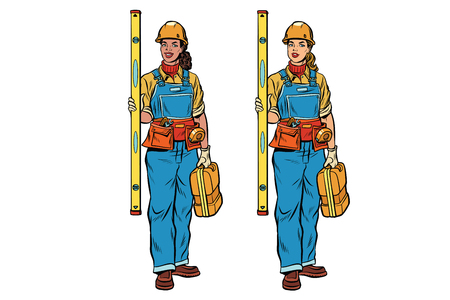 African and Caucasian woman Builder with construction tools. Black and white professionals. Pop art retro comic book vector illustration