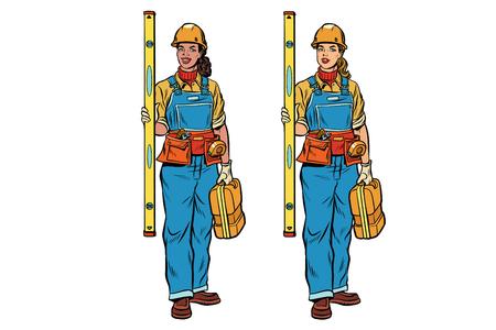 Afrikaanse en Kaukasische vrouwbouwer met bouwhulpmiddelen. Zwart en wit professionals. Popart retro comic book vectorillustratie