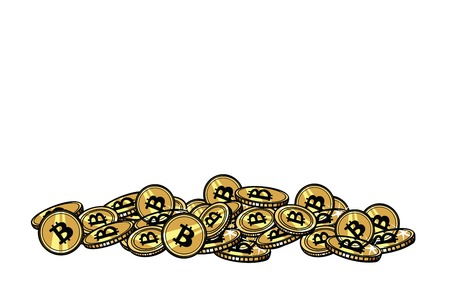 Mountain of gold coins with bitcoin cryptocurrency. Pop art retro comic book vector illustration