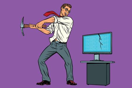 Businessman breaks the computer, cryptographer virus ransomware lock. Internet and network security. Pop art retro comic book vector illustration