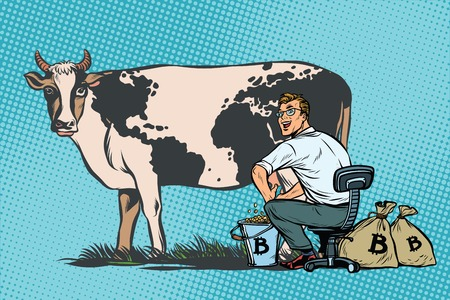 Businessman mines bitcoins milking a cow, world business. Pop art retro comic book vector illustration
