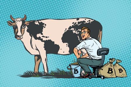 Zakenmanmijnen bitcoins die een koe, wereldzaken melken. Popart retro comic book vectorillustratie