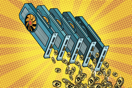 Video card pours cryptocurrency bitcoin. Pop art retro comic book vector illustration