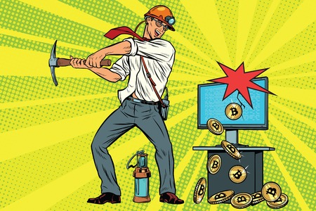 Miner businessman is mining bitcoins from your computer. Cryptocurrency and electronic money. Pop art retro comic book vector illustration Illustration