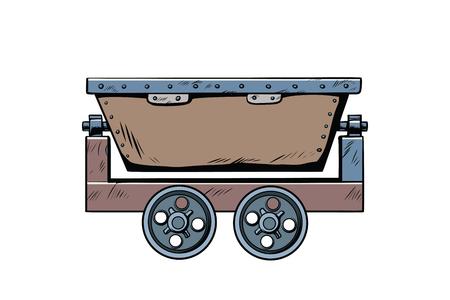 金属鉱業トロリー。ポップアート レトロ漫画のベクトル図