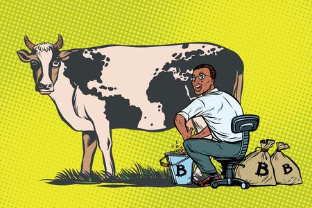Afrikaanse zakenmanmijnen bitcoins die een koe, wereldzaken melken Stockfoto
