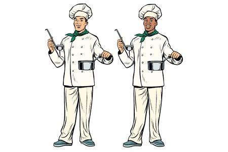 取鍋および鍋で白人とアフリカのシェフ