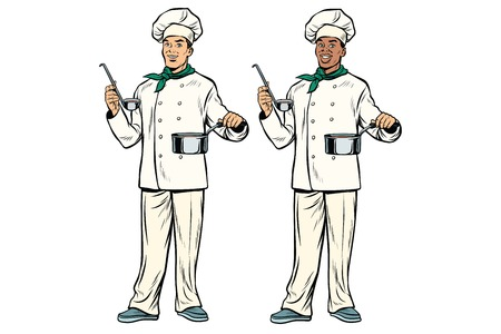 Caucasian and African chef with ladle and cooking pot