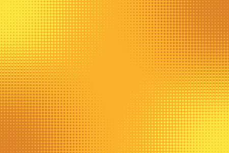 Golden yellow orange pop art background with halftone effect