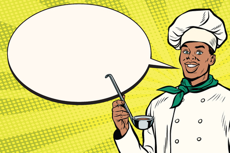 African chef with ladle cartoon bubble