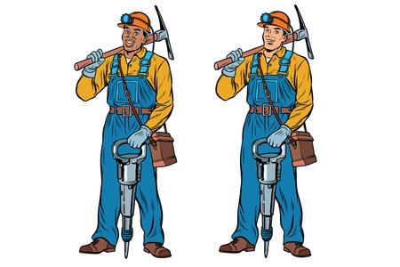 Afrikaanse en Kaukasische mijnwerkers met jackhammer houweel