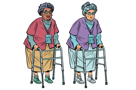 African and Caucasian old ladies with walker Stock Illustratie