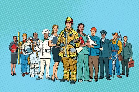 Brandweerman arts Secretaris astronaut Bouwer chef-kok mijnwerker en Stockfoto - 81656974
