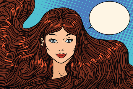 smiling brunette with long hair Ilustrace
