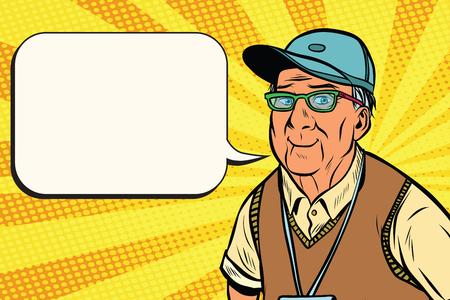 즐거운 노인 야구 모자 일러스트