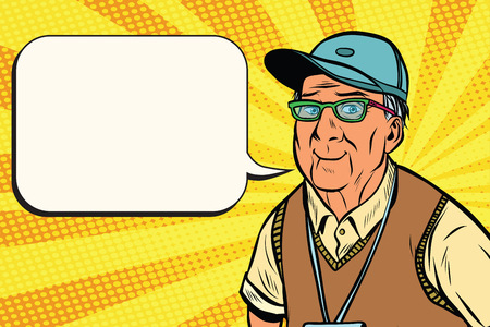 joyful old man in a baseball cap Stock Vector - 81656998