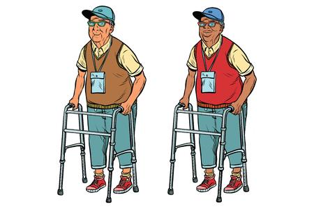 Afrikaanse en Kaukasische bejaarden met wandelaar Stockfoto