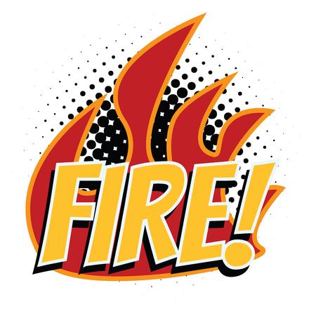 fire word pop art style Stock Photo