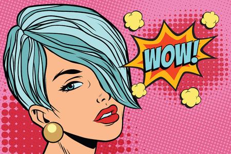 Short hair girl with text wow. Pop art retro vector illustration