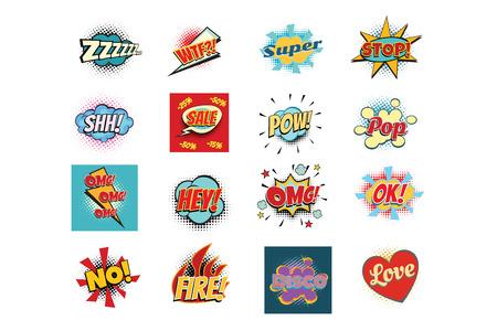 Seth comic lettering phrases texts replica word. Pop art retro vector illustration Illustration