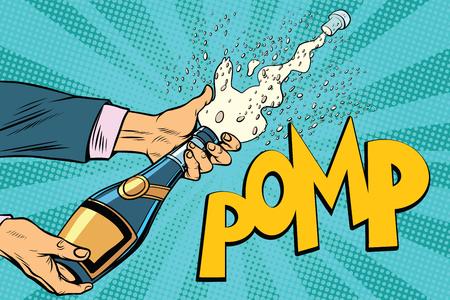 Ouverture des bouteilles de champagne. Pop art rétro illustration vectorielle Banque d'images - 81860579