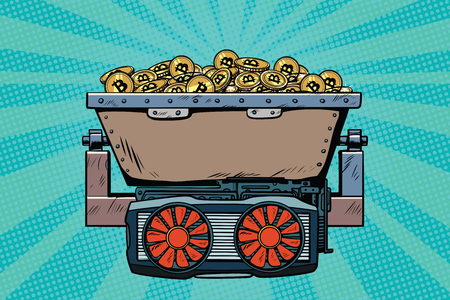 mining trolley with cryptocurrency bitcoin. Pop art retro comic book vector illustration Фото со стока