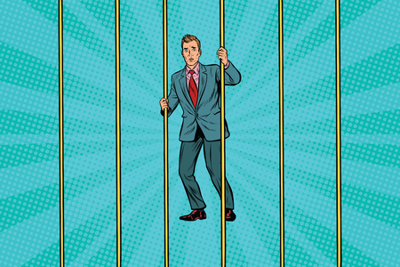 Businessman in prison for the bars. Pop art retro vector illustration Illustration