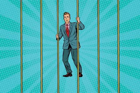 Businessman in prison for the bars. Pop art retro vector illustration Illustration