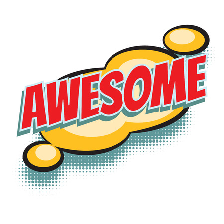 awesome comic word. Pop art retro vector illustration Ilustração