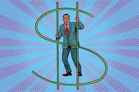 Afrikanischer Geschäftsmann hinter Gittergeld. Finanzkriminalität Schwarzer Profi. Pop-Art Retro-Vektor-Illustration Standard-Bild - 82039934