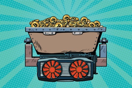 mining trolley with cryptocurrency bitcoin. Pop art retro comic book vector illustration Illustration