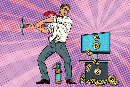 ビジネスマンはお使いのコンピューターからマイニング bitcoins です。Cryptocurrency および電子マネー。ポップアート レトロ漫画のベクトル図 写真素材