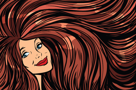 Joyful woman, background with long hair right. Pop art retro vector illustration