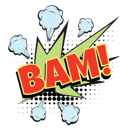 bam コミック単語。ポップアートのレトロなベクトル図