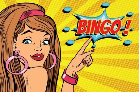 Bingo de femme pop art. illustration vectorielle rétro