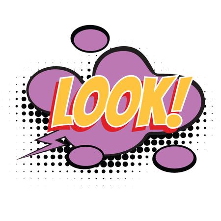 look text comic word. Pop art retro vector illustration Illustration