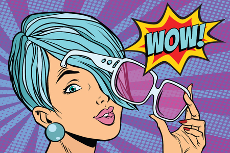 sunglasses pop art woman wow reaction. retro vector illustration
