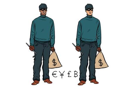 African Caucasian thief robber dollar Euro pound yen bitcoin. Pop art retro vector illustration
