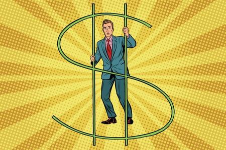 Geschäftsmann hinter Bargeld. Finanzkriminalität. Retro- Vektorillustration der Pop-Art Standard-Bild - 82285709