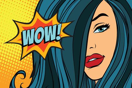 wow beautiful woman with long hair. Pop art retro vector illustration Çizim